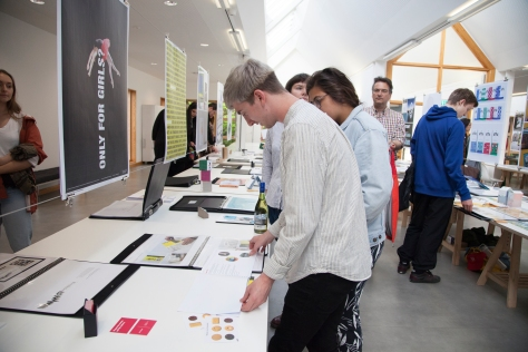 Falmouth University's Graphic Design students displaying their work